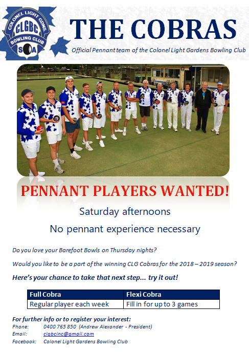 The Cobras Players Wanted